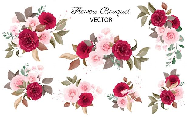 花の花束のセット。赤と桃のバラの花、葉、枝の花飾りイラスト