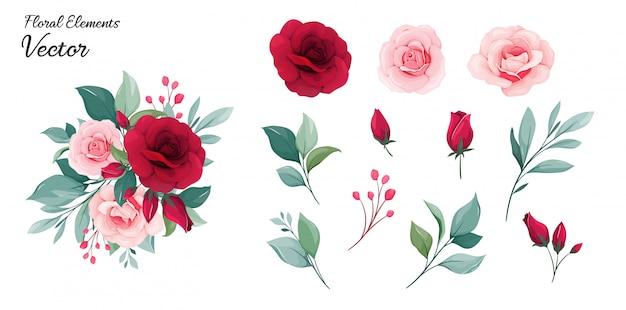 花の要素。赤と桃のバラの花、葉、枝の花装飾図
