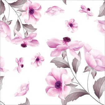 アネモネの花のかわいいシームレスパターン