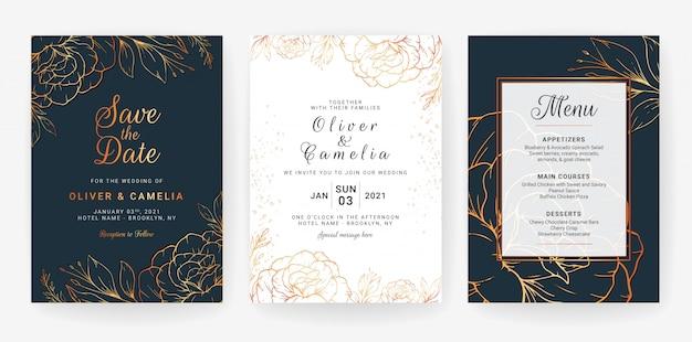 花のラインアートとカードのセット。豪華な金の花と葉のネイビーブルーの結婚式招待状テンプレートデザイン