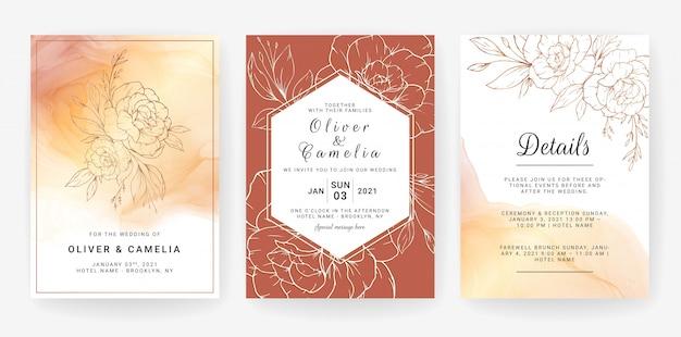 花のラインアートとカードのセット。豪華な金の花と水彩画の背景を持つ葉の結婚式招待状のテンプレートデザイン
