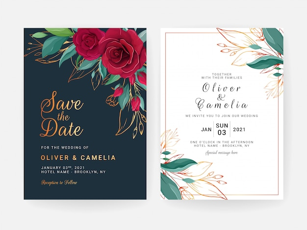 花のボーダーとカードのセット。赤いバラの花と金の葉のネイビーブルーの結婚式招待状テンプレートデザイン