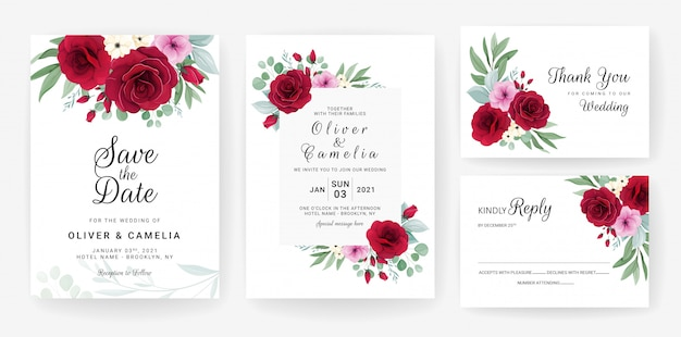 Свадебный пригласительный шаблон с розой, цветами анемона и листьями
