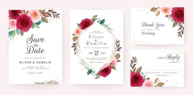 幾何学的な花のフレームとボーダー入り結婚式招待状カードのテンプレート