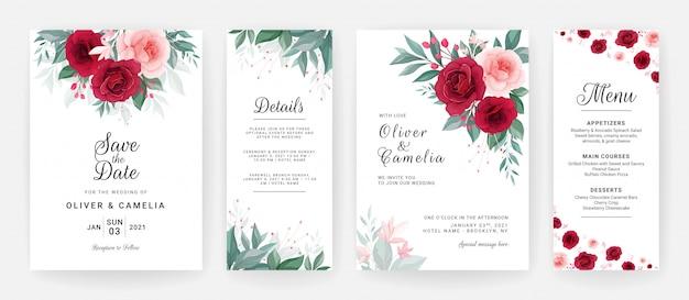 Свадебные приглашения шаблон с цветочным декором и бордюром