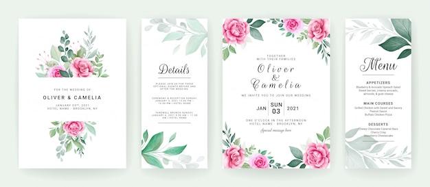水彩花の花束とボーダー入り結婚式招待状カードのテンプレート。