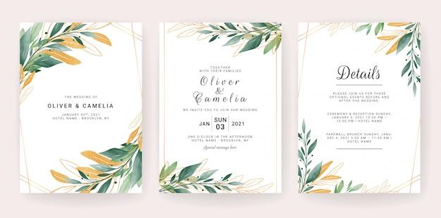 Шаблон приглашения свадебные карточки с листьями границы.