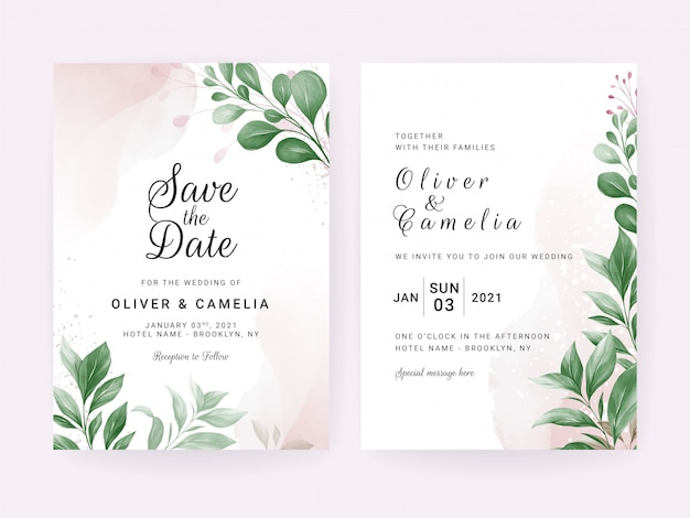 葉の装飾と水彩入り結婚式招待状カードのテンプレート