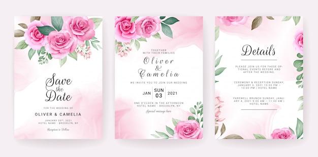 結婚式の招待カードのテンプレートは、水彩のフラワーアレンジメントとボーダーで設定します。