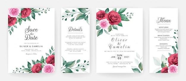 Шаблон приглашения свадебные карточки с акварелью цветочные композиции и границы.