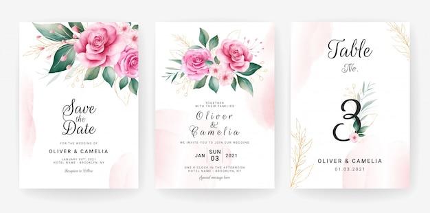 水彩花のフレームとボーダー入り結婚式招待状カードのテンプレート。