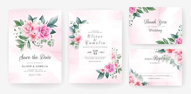 Шаблон приглашения свадебные карточки с акварелью цветочные границы.