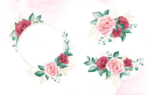 ゴールドの水彩花のフレームと花束のセットです。桃と赤いバラ、葉、枝の植物装飾イラスト。