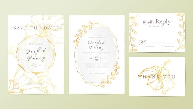 美しい結婚式の招待カードテンプレート