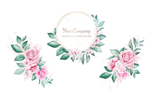 水彩花のフレームとロゴやカードの組成のための花束のセットです。桃と赤いバラ、葉、枝の植物装飾イラスト