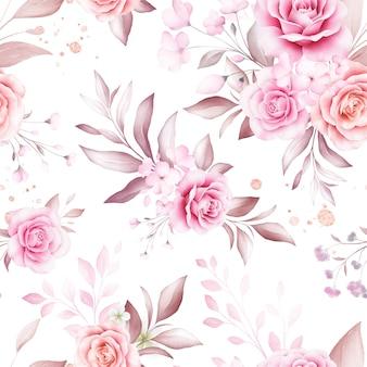 ファッション、印刷、テキスタイル、ファブリック、およびカードの背景の白い背景の上の柔らかい水彩花のアレンジメントとゴールドラメのシームレスパターン