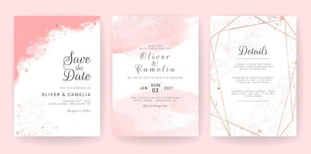 抽象的な背景。結婚式の招待カードテンプレートは、水彩と花の装飾を設定します。日付を保存するための花の背景、