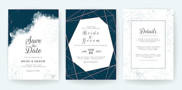 抽象的な背景。結婚式の招待カードテンプレートは、青い水彩画と花の装飾を設定します。日付を保存するための花の背景、