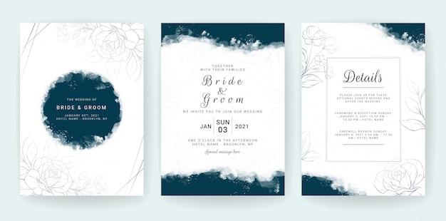 エレガントな抽象的な背景。結婚式の招待カードテンプレートは、青い水彩画と花の装飾を設定します。日付を保存するための花のボーダー、