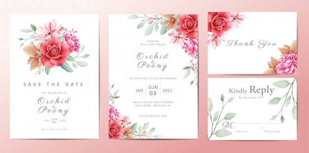 ロマンチックな花の結婚式の招待状テンプレートカードセット
