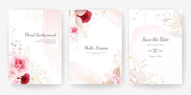 エレガントな抽象。花とゴールドの水彩装飾入り結婚式招待状テンプレート