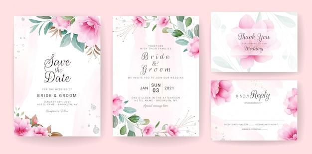 花の背景カード。日付、挨拶、ポスター、カバーデザインを保存するための花とキラキラの装飾が施された結婚式の招待状のテンプレート