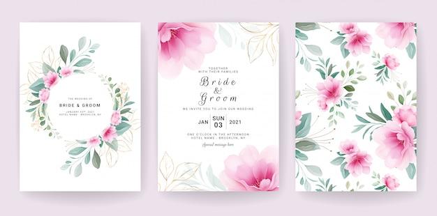 エレガントな花カード。日付、挨拶、ポスター、カバーデザインを保存するための花のボーダー&パターンで設定された結婚式の招待状のテンプレート