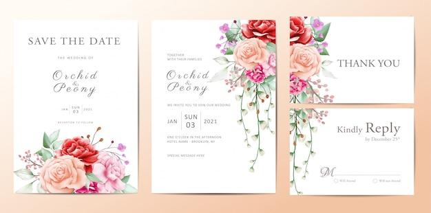 花の花束の結婚式招待状テンプレートセット