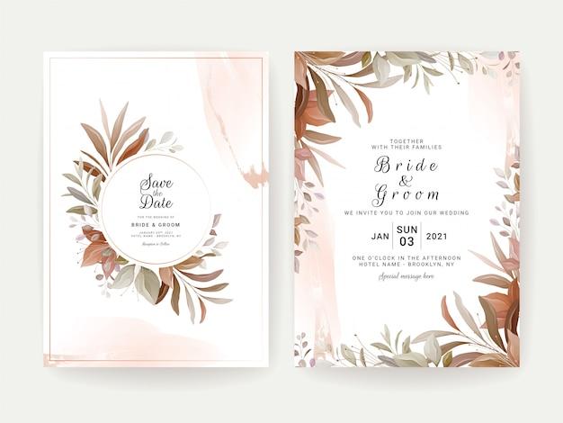 花の背景カード。日付、挨拶、ポスター、カバーデザインを保存するための茶色の葉入り結婚式招待状テンプレート