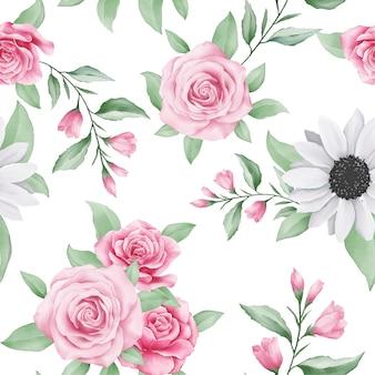 水彩花のかわいいシームレスパターン