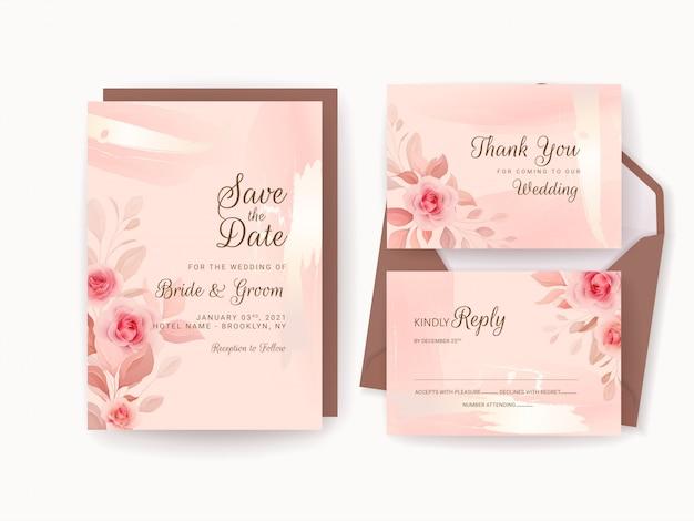ロマンチックな花柄ボーダーとゴールドの水彩画で設定された結婚式の招待状のテンプレート。バラと桜の花の組成