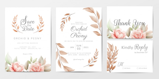 茶色の花の結婚式の招待カードテンプレートセット