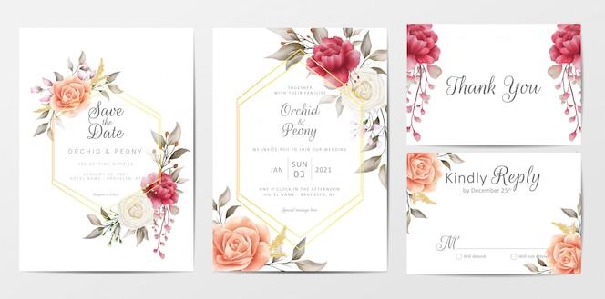ビンテージ花の結婚式の招待カードテンプレートセット