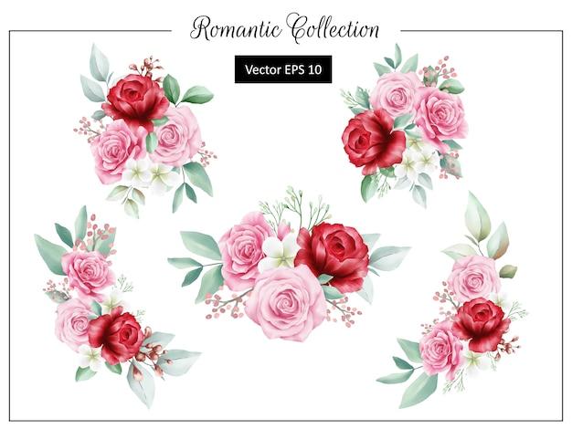 Оформление букета романтических цветов для элементов свадебных или поздравительных открыток