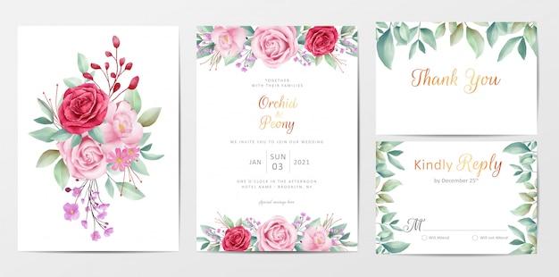 花の花束とエレガントな花の結婚式の招待カードテンプレートセット