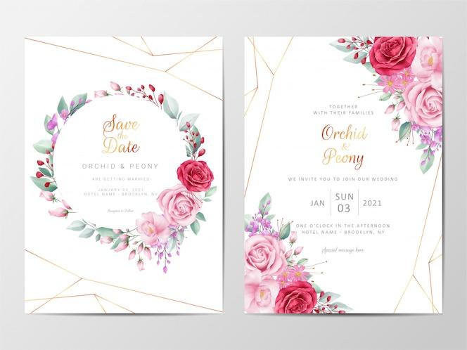花の装飾入りモダンな花の結婚式の招待カードテンプレート