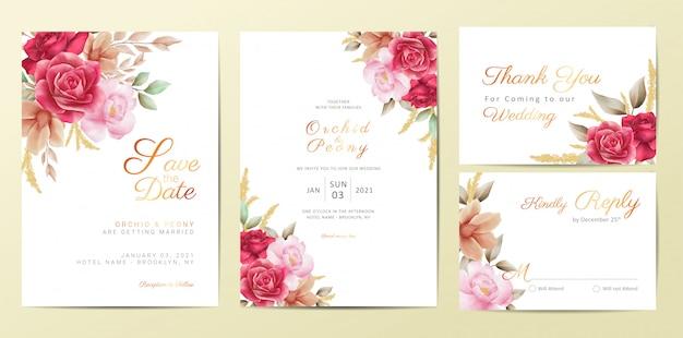 ロマンチックな花の結婚式の招待カードテンプレートセット