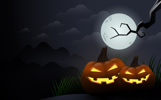 曇り夜のハロウィンのカボチャ