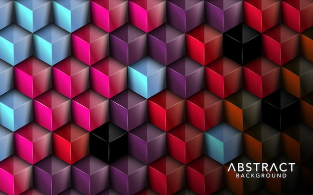 重複するキューブのフルカラーの背景