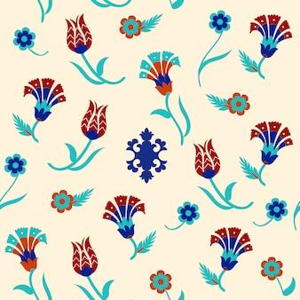 トルコをモチーフにしたシームレスな花柄デザイン。ベクトルイラスト。
