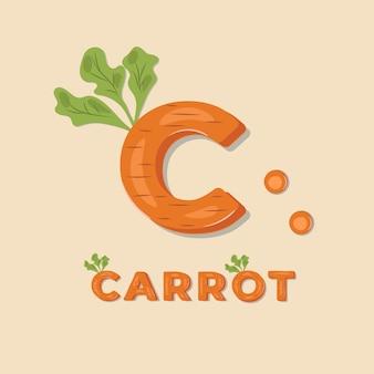 Овощной «морковь» надписи иллюстрации.