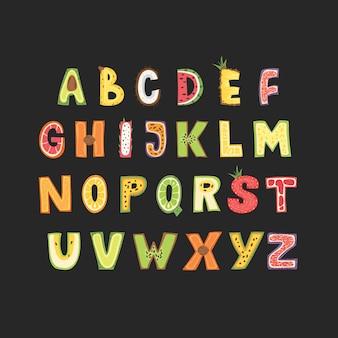 フルーツアルファベット-レタリングデザイン。スカンジナビアスタイルの大文字のタイポグラフィ。
