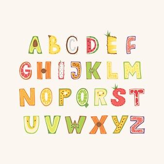 フルーツアルファベット-レタリングデザイン。スカンジナビアスタイルの大文字のタイポグラフィ。ベクトルイラスト。