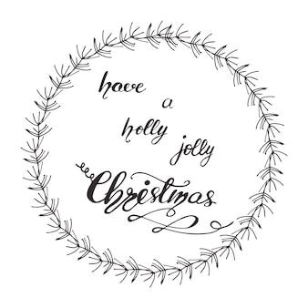 レターを持つグリーティングカードのデザインには、クリスマスツリーがあります。ベクトル図。