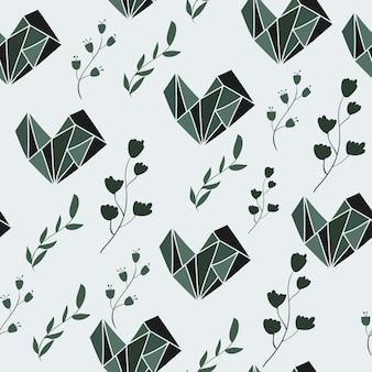 グラフィックと花の要素とシームレスなパターン。ベクトル図。