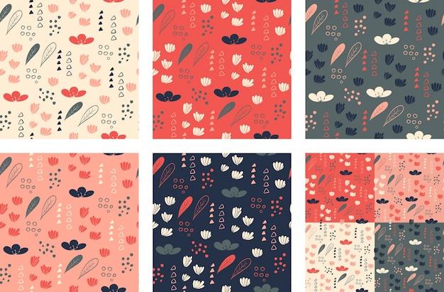 Набор бесшовные модели с цветочными элементами. векторные иллюстрации.