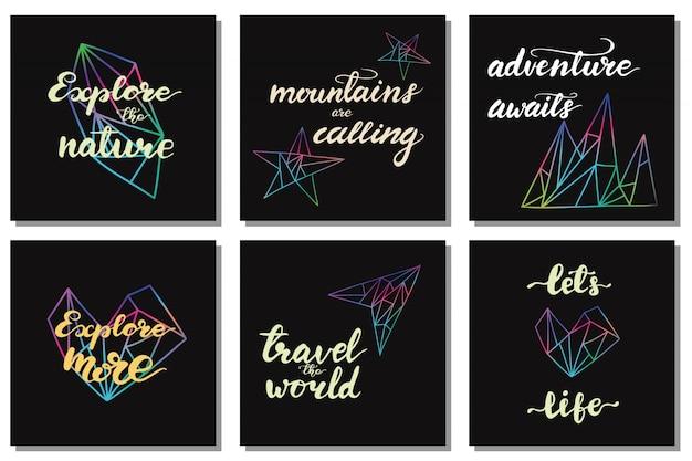 旅行のレタリングフレーズでデザインのセット。ベクトル図。