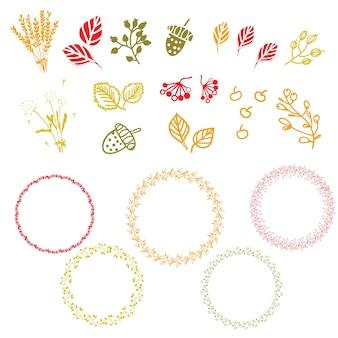 秋の要素と花輪のセット。ベクトル図。