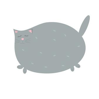 かわいいグレーの猫が目を閉じた