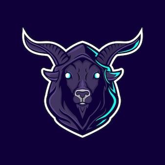 悪魔の山羊のマスコットのロゴデザイン